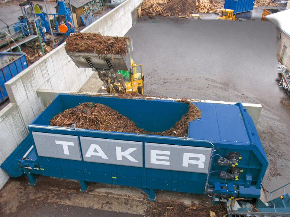 Annahmedosierer TAKER T-18 - Überladewand zur Absiebung von Rinde